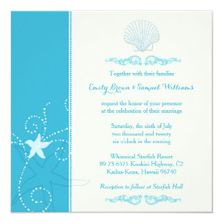 "Malibu Blue Sea Shell Beach Wedding 5.25"" Square Invitation Card"