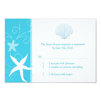 "Malibu Blue Sea Shell, Starfish Beach Wedding RSVP 3.5"" X 5"" Invitation Card"