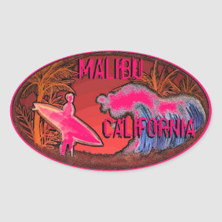 Malibu California pink surfer waves art stickers