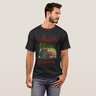 Malibu California Retro Surfing Distressed T-Shirt