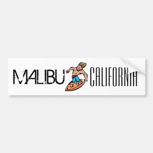 Malibu California surfer cartoon bumper sticker