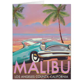 Malibu, Los Angeles, California travel poster Card