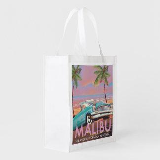 Malibu, Los Angeles, California travel poster Reusable Grocery Bag