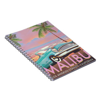 Malibu, Los Angeles, California travel poster Spiral Notebook