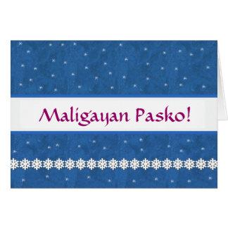 Maligayan Pasko Snowflakes BLUE  Background Card