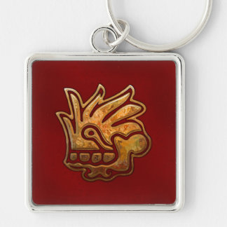 Malinalli AZTEC Red & Gold Keychain