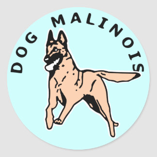 malinois courrant classic round sticker