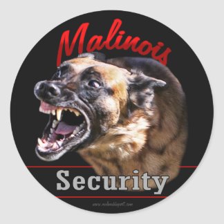 Malinois Security Round Sticker