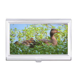 Mallard and Ducklings-Swimming by Shirley Taylor Business Card Cases