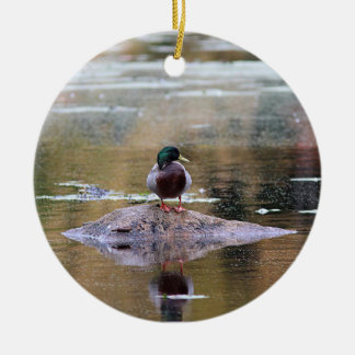 Mallard duck ceramic ornament