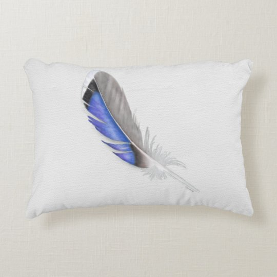 Mallard Duck Feather Watercolor Accent Pillow