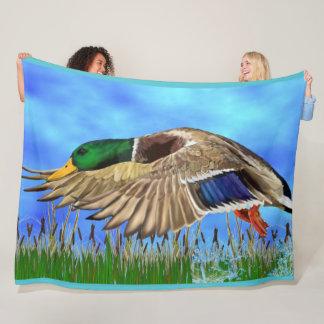 Mallard Duck in Flight Fleece Blanket