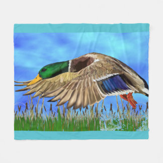 Mallard Duck in Flight Fleece Blanket