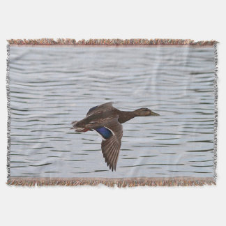 Mallard Duck in Flight Throw Blanket