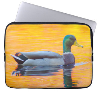 Mallard duck on orange lake, Canada Laptop Sleeve