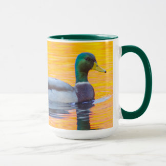 Mallard duck on orange lake, Canada Mug