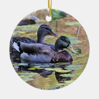 Mallard duck pair ceramic ornament