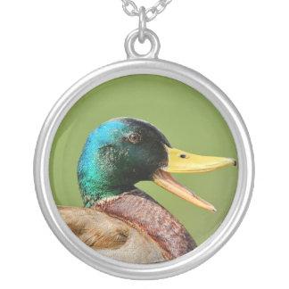 mallard duck portrait silver plated necklace