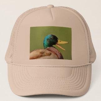 mallard duck portrait trucker hat
