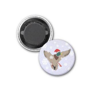 Mallard Duck Santa Hat Christmas Magnet
