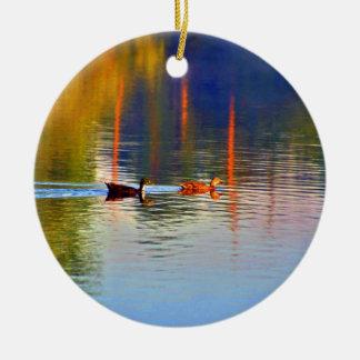Mallard Ducks and Water Lily Round Ceramic Ornament