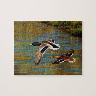Mallard Ducks Flying Over Pond Jigsaw Puzzle
