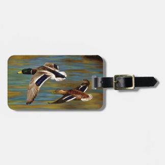 Mallard Ducks Flying Over Pond Luggage Tag