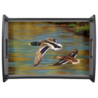 Mallard Ducks Flying Over Pond Serving Tray