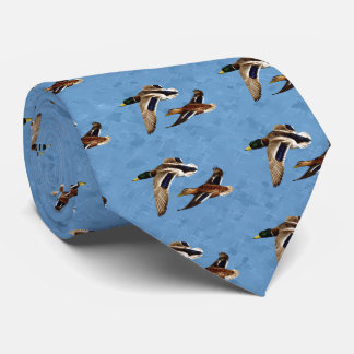Mallard Ducks Flying Sky Blue Tie