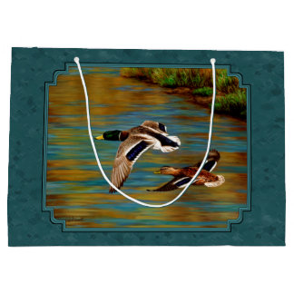Mallard Ducks in Flight Teal Large Gift Bag