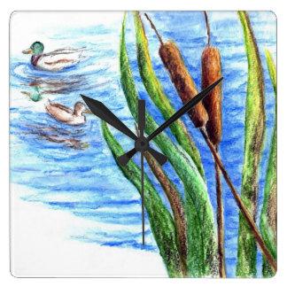 Mallards and Cattails - Watercolor Pencil Square Wall Clock