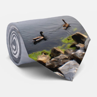 Mallards Swimming By Rocks Oval Vignette Tie