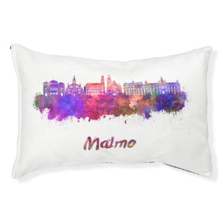 Malmo skyline in watercolor small dog bed