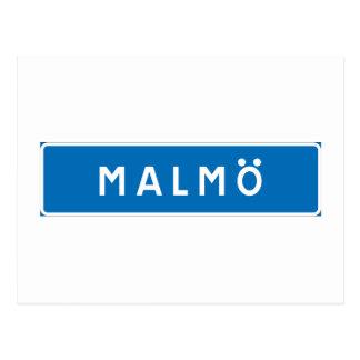 Malmo, Swedish road sign Postcard