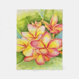 Malorie Arisumi Plumeria fleece blanket
