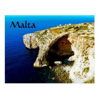 Malta: blue hole and rock formation postcard