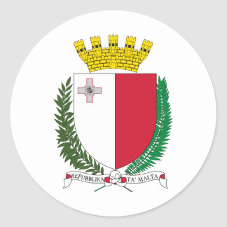Malta coat of arms classic round sticker