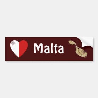 Malta Flag Heart + Map Bumper Sticker