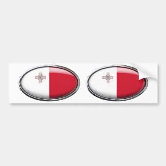 Malta Flag in Glass Oval Bumper Sticker