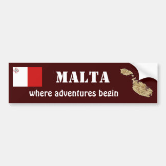 Malta Flag + Map Bumper Sticker