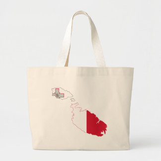 Malta Flag Map full size Large Tote Bag
