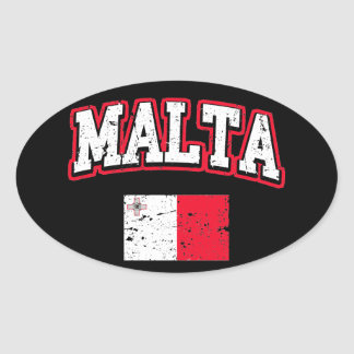 Malta Flag Oval Sticker