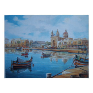 Malta harbor scene 1 poster