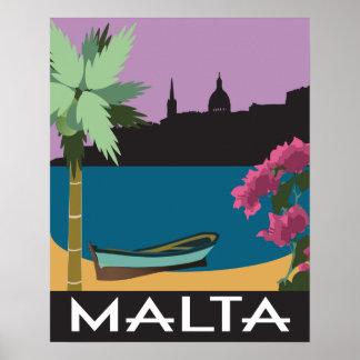 Malta Mediterranean vintage travel style Poster