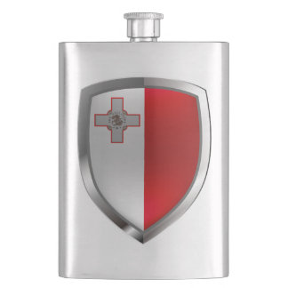 Malta Metallic Emblem Hip Flask