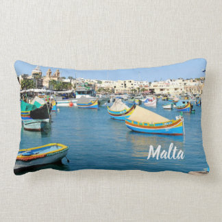 Malta  Scenic View Traditional Boats Lumbar Pillow