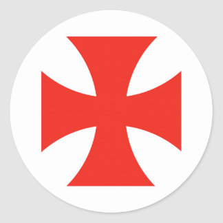 malta templar knights red cross religion symbol classic round sticker