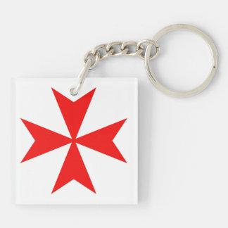 malta templar knights red cross religion symbol Double-Sided square acrylic keychain
