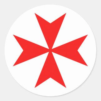 malta templar knights red cross religion symbol round sticker