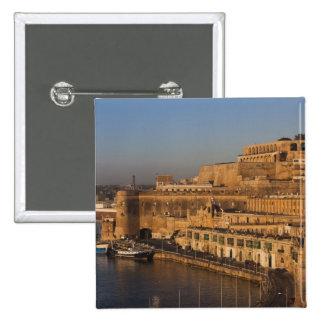 Malta, Valletta, harbor view from Lower Barrakka 2 Inch Square Button